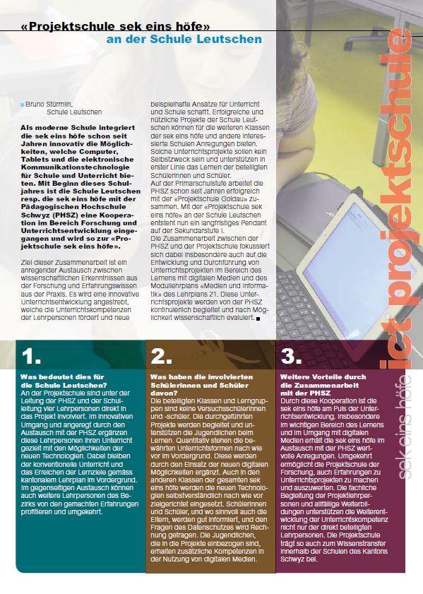 Magazin Artikel Projektschule sek eins höfe