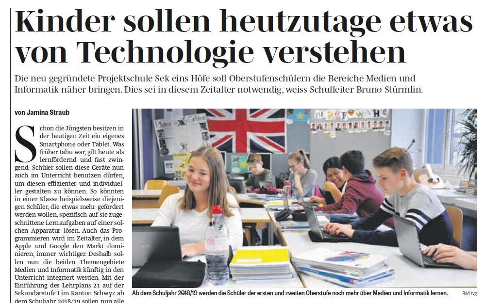 "Zeitungsartikel ""Kinder sollen Technologie verstehen, Höfner Volksblatt 10.11.17"